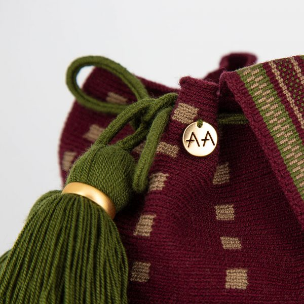 Fiera Small Bucket Bag Purse in Burgundy / Beige / Forest Green Aaluna Collections [tag]