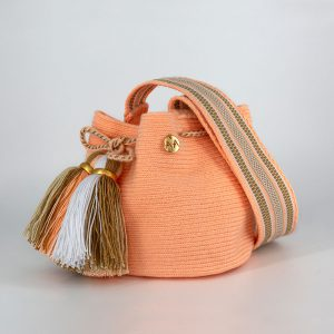 Canasto Small Bucket Bag in Peach / Hazelnut / White Aaluna Collections bucket bag