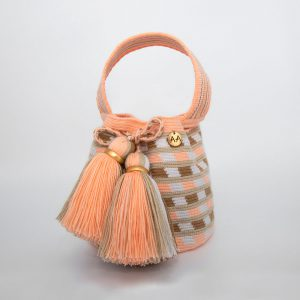 Canasto Small Patterned Bucket Bag Peach / Hazelnut / White Aaluna Collections bucket bag