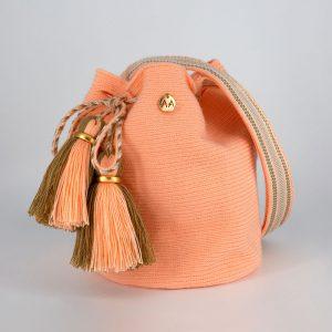 Canasto Medium Bucket Bag in Peach / Hazelnut / White Aaluna Collections bucket bag