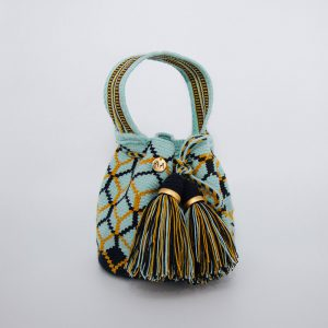 Colmena Small Bucket Bag in Turquoise / Navy / Mustard Aaluna Collections [tag]