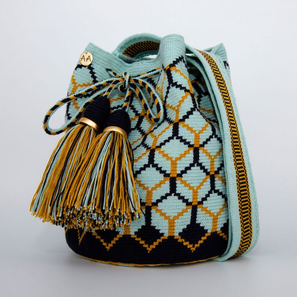 Colmena Medium Bucket Bag in Turquoise / Navy / Mustard Aaluna Collections [tag]