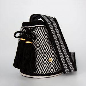 Escama Medium Bucket Bag in Black / White Aaluna Collections [tag]