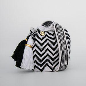Olas Small Crossbody Bucket Bag in Black / White Aaluna Collections [tag]