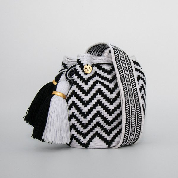 Olas Small Crossbody Bucket Bag in Black / White Aaluna Collections [tag]