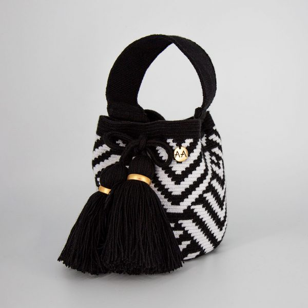 Escama Small Bucket Bag Purse in Black / White Aaluna Collections bucket bag