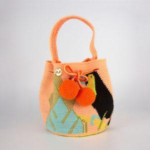 Toucan Small Tropical Print Bucket Bag Aaluna Collections [tag]