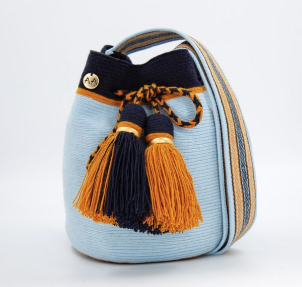 Colmena Medium Colorblock Bucket Bag in Sky Blue / Navy / Orange Aaluna Collections bucket bag