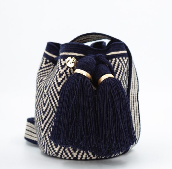 Escama Small Bucket Bag in Navy Blue / Beige Bags bucket bag