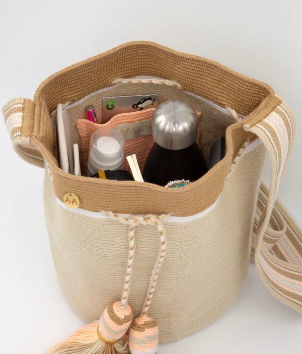 Canasto Medium Bucket Bag in Cream / Hazelnut / Nude Aaluna Collections [tag]