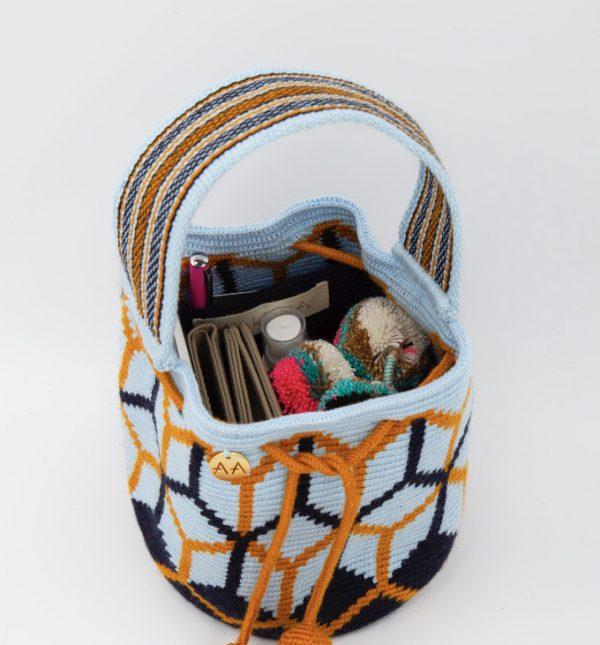 Colmena Small Bucket Bag Purse Sky Blue / Navy / Orange Bags bucket bag