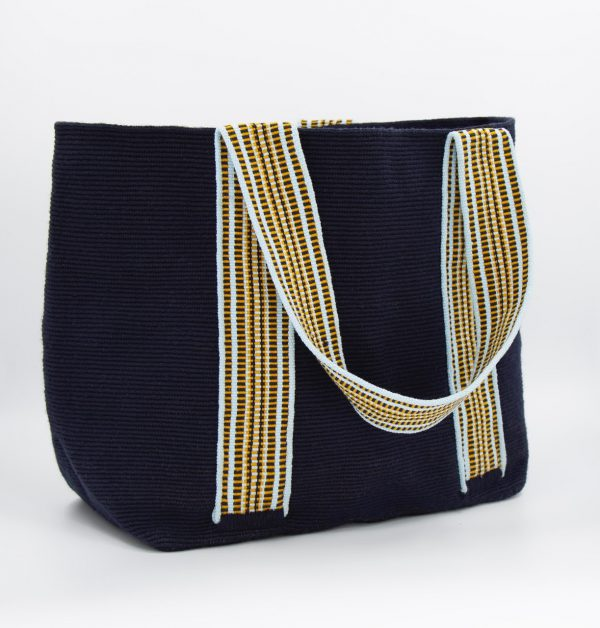 Colmena Tote Bag Navy / Sky Blue / Mustard Aaluna Collections shopping bag