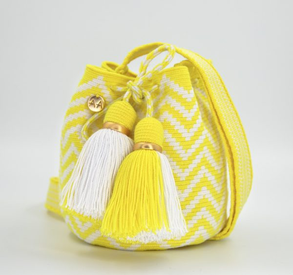 Olas Small Crossbody Bucket Bag in White / Yellow Aaluna Collections [tag]